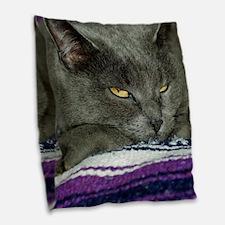 Cute Watchful Cat Burlap Throw Pillow