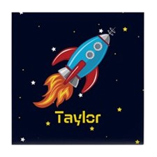 Rocket Ship in Outer Space, Boy or Girl Kid's Tile