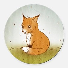 Cute Little Fox Round Car Magnet