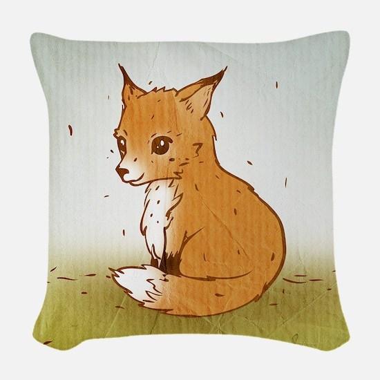 Cute Little Fox Woven Throw Pillow