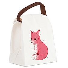 Cute Pink Fox Canvas Lunch Bag