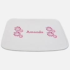 Pink Floral Hibiscus Reveal Custom Name 23 Bathmat