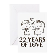 22nd Anniversary chalk couple Greeting Card