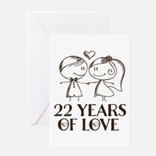 22nd Anniversary chalk couple Greeting Card