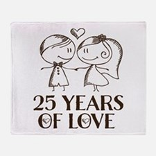 25th Anniversary chalk couple Throw Blanket