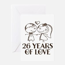 26th Anniversary chalk couple Greeting Card