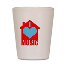 I Love House Music - House silhoutte Shot Glass