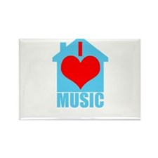 I Love House Music - House silhoutte Magnets