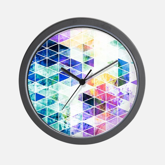 Grungy Bright Triangle Pattern Wall Clock