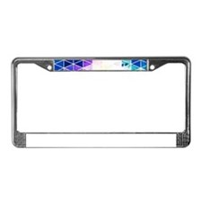 Grungy Bright Triangle Pattern License Plate Frame