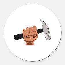 HAMMER IN HAND Round Car Magnet
