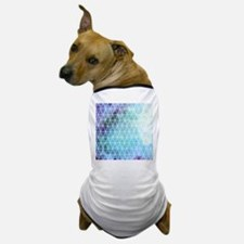 Blue Grungy Geometric Triangle Design Dog T-Shirt