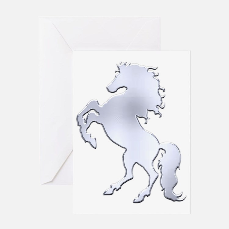 Silver Stallion Greeting Card