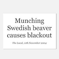 Munching Swedish beaver Postcards (Package of 8)