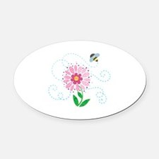 BEE AND FLOWER Oval Car Magnet