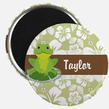 Green Frog on Tropical Sage Green Hibiscus Pattern