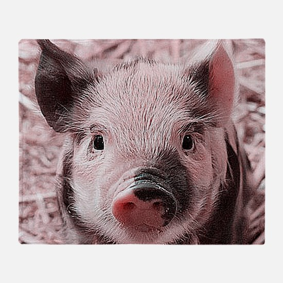 sweet piglet, pink Throw Blanket