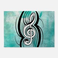 treble clef soft aqua 5'x7'Area Rug