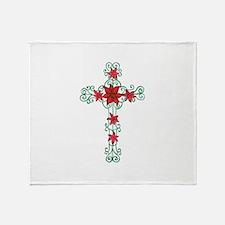 Floral Cross Throw Blanket