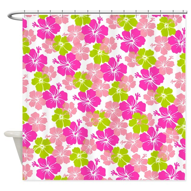 hibiscus hot pink lime green shower curtain by pixdezines
