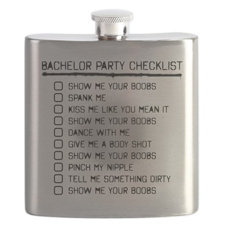 Bachelor Party Checklist Spray Painted Flask by BachelorPartyGear