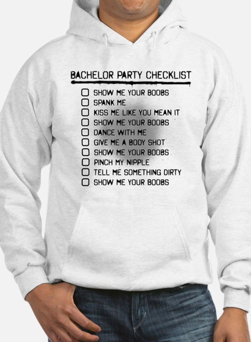 Bachelor Party Checklist Spray Painted Hoodie