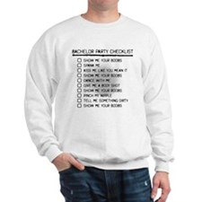 Bachelor Party Checklist Spray Painted Sweatshirt