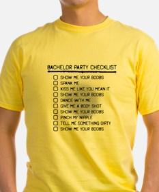 Bachelor Party Checklist Spray Painted T-Shirt