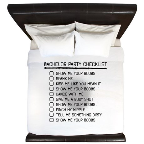 Bachelor Party Checklist Spray Painted King Duvet by BachelorPartyGear
