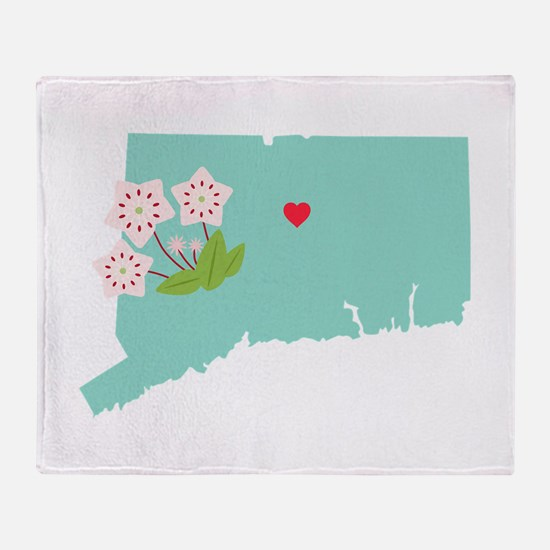 Connecticut State Map Throw Blanket