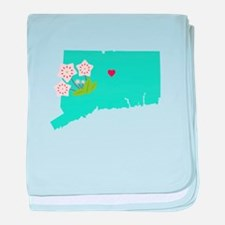 Connecticut State Map baby blanket