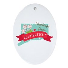 Greetings from Connecticut Ornament (Oval)