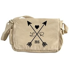 Personalized Retro Heart And Arrows Messenger Bag