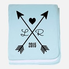 Personalized Retro Heart And Arrows baby blanket