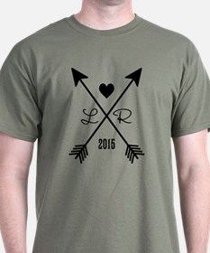 Personalized Retro Heart And Arrows T-Shirt