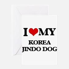 I love my Korea Jindo Dog Greeting Cards