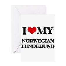 I love my Norwegian Lundehund Greeting Cards
