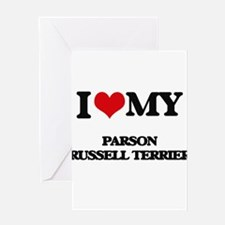I love my Parson Russell Terrier Greeting Cards
