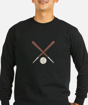 CROSSED BASEBALL BATS AND BALL Long Sleeve T-Shirt