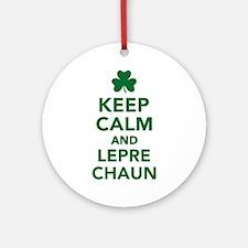 Keep calm and Leprechaun Ornament (Round)