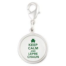 Keep calm and Leprechaun Silver Round Charm