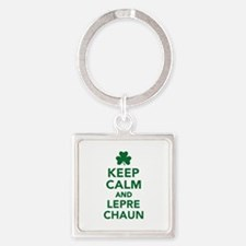 Keep calm and Leprechaun Square Keychain