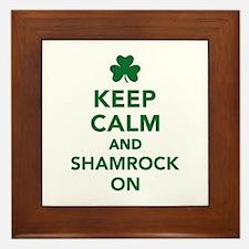 Keep calm and shamrock on Framed Tile