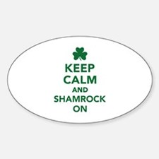 Keep calm and shamrock on Sticker (Oval)