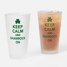 Keep calm and shamrock on Drinking Glass