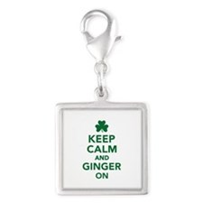 Keep calm and ginger on Silver Square Charm
