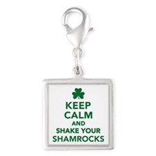 Keep calm and shake your sham Silver Square Charm