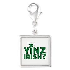 Yinz irish Silver Square Charm
