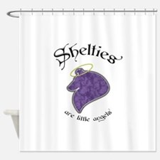 sheltie angle (W).png Shower Curtain