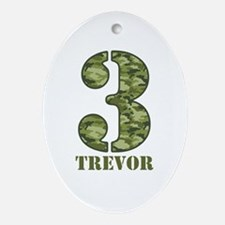Green Camo 3rd Birthday Ornament (Oval)